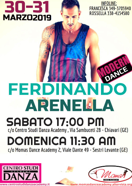 WORKSHOP DI MODERN DANCE CON FERDINANDO ARENELLA